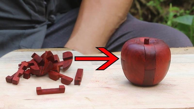 阿木爷爷做了一个苹果形状的鲁班锁,形状各异小木块组成,真奇妙