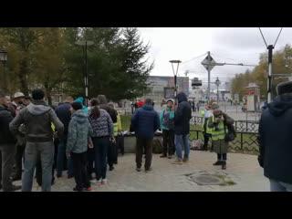 Пикет против мусорного полигона на станции Шиес в Сыктывкаре
