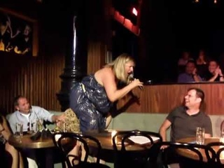 Bridget Everett performing her rendition of  Climb    Latch the butt in the face of the audience