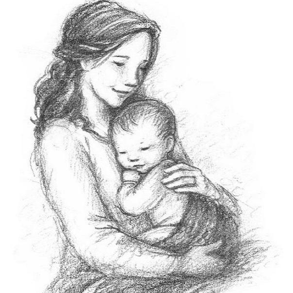 красивые рисунки мама с младенцем бесплатно