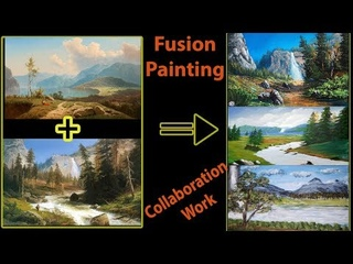 Fusion Landscape Painting | Collaboration Art Work | Art candy | Fancy's Art | Siri's Studio