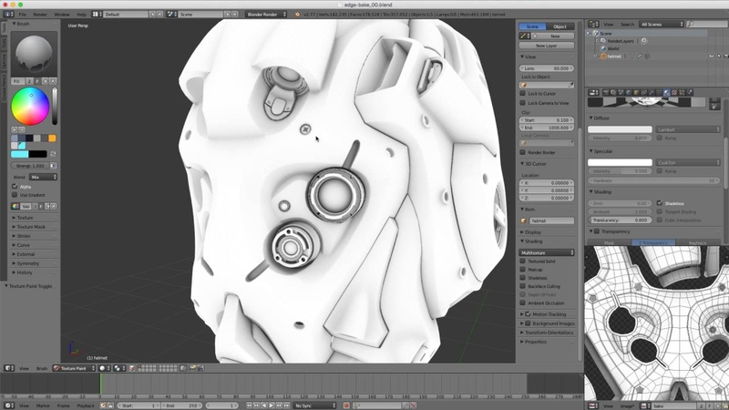 Shading in Blender Baking an Edge Map Using Ambient Occlusion