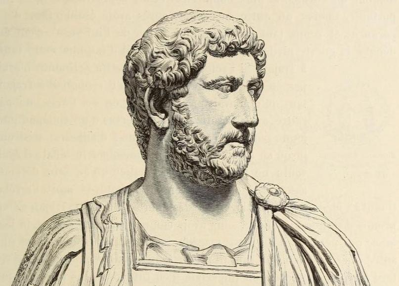 Император Адриан, при котором Светоний состоял в должности секретаря (иллюстрация из издания: Duruy V. Histoire des Romains. T. V. Paris, 1883. P. 5).