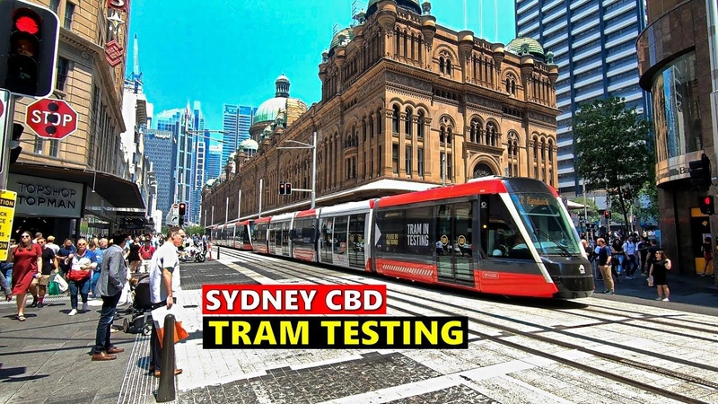SYDNEY LIGHT RAIL Tram Testing SYDNEY CBD Light Rail Between Circular Quay Town Hall