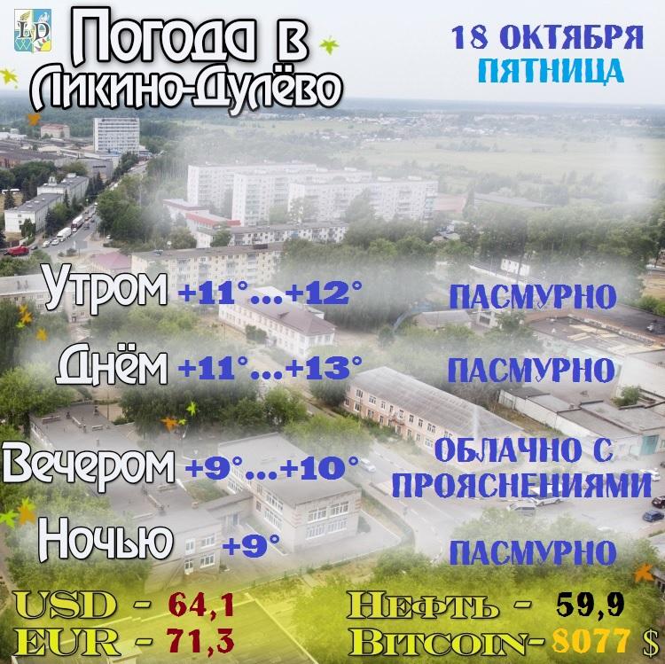 Погода в Ликино-Дулёво на 18 октября. Пятница.