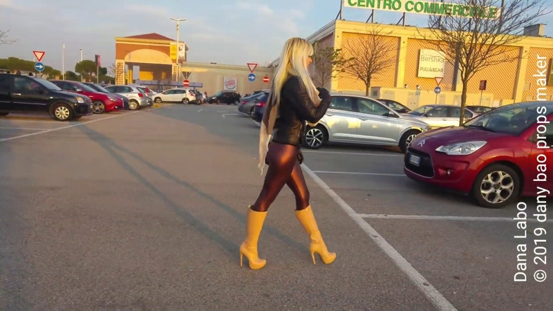 DANA LABO blonde girl with fringe shopping leather jacket leggings gloves and boots