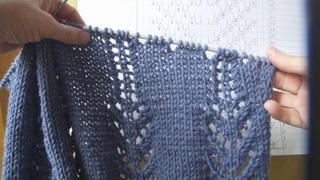 Платье спицами голубое МК часть 1. El vestido es de punto azul.  Clase magistral 1