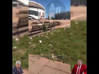 Мусор на главной площади Республики Мордовия - Саранск