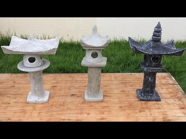 Diy lanterna de pedra chinesa com garrafa pet stone lantern Torô