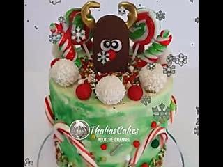 """Новогодний яркий, красочный декор торта с оленем. / наша группа в  """"торты на заказ. мировые шедевры""""."""