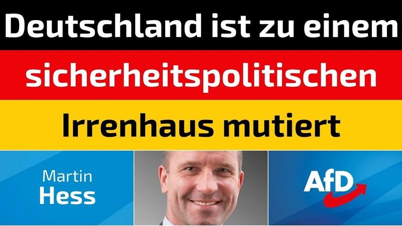 Martin Hess (AfD) - Deutschland ist zu einem sicherheitspolitischen Irrenhaus mutiert