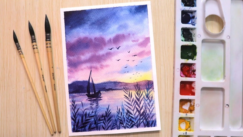 Watercolor painting of beautiful seascape with boat easy