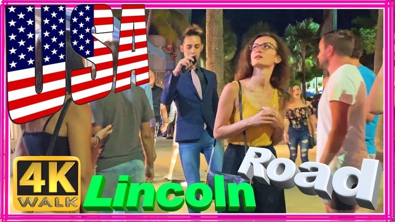 【4K】WALK Miami Beach 4k LINCOLN Road people in South Beach Miami Florida 4k documentary USA 2019