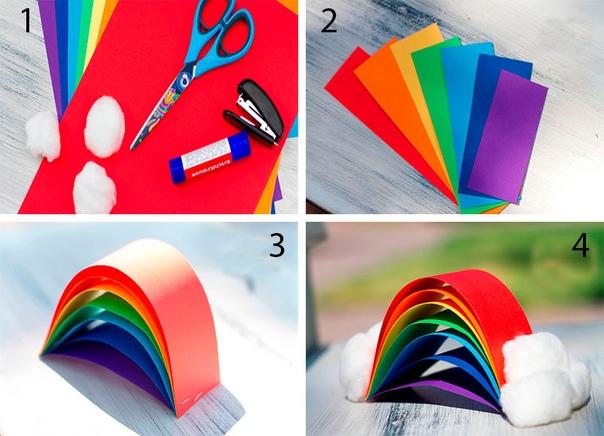 Радуга в облаках понадобится:цветной картон, ножницы, клей-карандаш, вата, степлер.Ход работы Нарежьте 7 полос бумаги разных цветов таким образом, чтобы каждая часть была короче предыдущей.