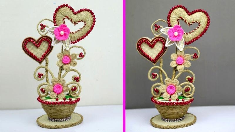 How to make heart shaped showpiece - Hand-made showpiece from jute - Creative jute showpiece crafts