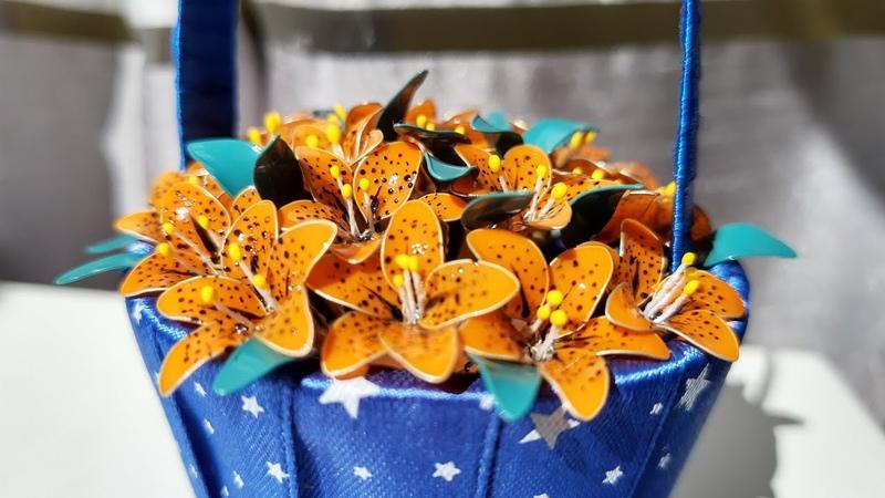 кКорзинка с карликовыми лилиями Kosz z karłowatymi liliami