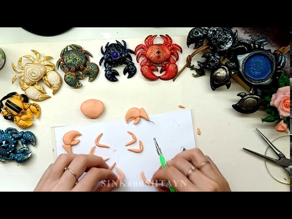 Free tutorial coat brooch pendant crab jewelry polymer clay fimo cernit