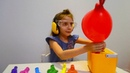 We explode multicolored balloons and remember colors in English Children's educational video