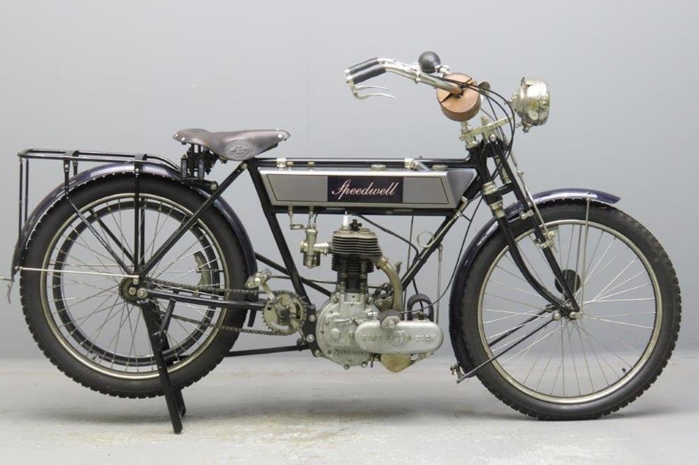 Старинный мотоцикл Speedwell 499 Abingdon King Dick 1909