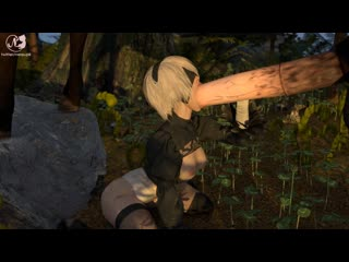 2b tries to deepthroat a giant horse-cock