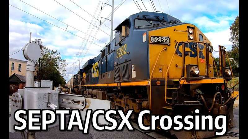 ⁴ᴷ Main Street 6th Street SEPTA Trolley and CSX Crossing in Darby Pennsylvania