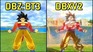 Goku - All Transformations & Attacks | DBXV2 vs Tenkaichi 3 [SSJ-SSJ2-SSJ3-SSJ4-KX20]
