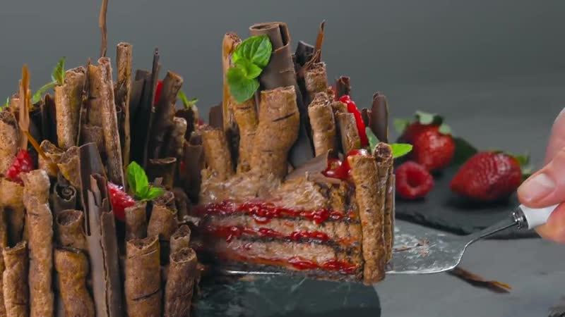 Шоколадный торт безе Зачарованный лес без муки