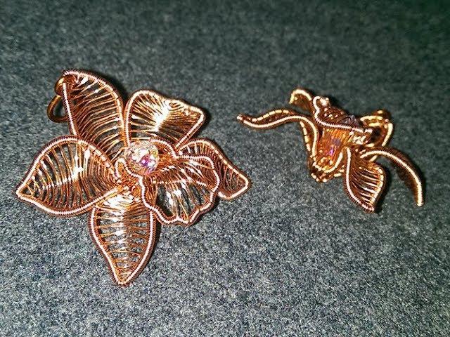 Cymbidium orchid Copper Flower 3D pendant 273