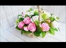 Нежнейший букет из мыльных роз и лилий в корзине