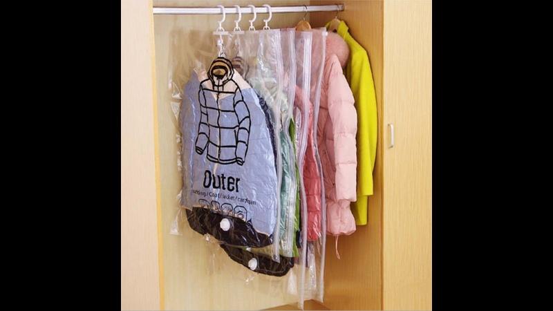 Вакуумный пакет с вешалкой крючком для хранения одежды