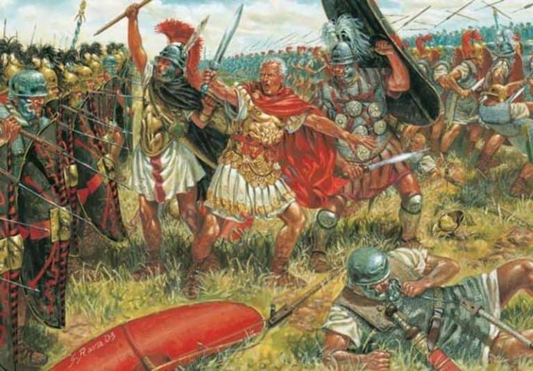 А сам он, построив войско в три линии, вплотную подошел к лагерю врагов. Только тогда германцы уже по необходимости вывели из лагеря свои силы. … Все свое войско они окружили повозками и телегами, чтобы не оставалось никакой надежды на бегство. Цезарь ... сам начал сражение на правом фланге, так как заметил, что именно здесь неприятели всего слабее. Наши по данному сигналу атаковали врага с таким пылом и с своей стороны враги так внезапно и быстро бросились вперед, что ни те, ни другие не успели пустить друг в друга копий. Отбросив их, обнажили мечи, и начался рукопашный бой. … В то время как левый фланг неприятелей был разбит и обращен в бегство, их правый фланг своим численным превосходством сильно теснил наших. Это заметил начальник конницы молодой П. Красс, который был менее занят, чем находившиеся в бою, и двинул в подкрепление нашему теснимому флангу третью (резервную) линию. Благодаря этому сражение возобновилось. Все враги обратились в бегство и прекратили его только тогда, когда достигли реки Рейна приблизительно в пяти милях отсюда. (с) Цезарь