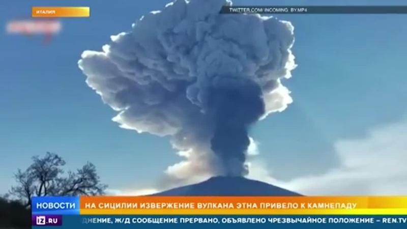 вулкан Этна начал бросаться камнями 2 03 2021