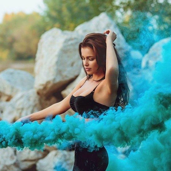 Цветной дым синий Екатеринбург