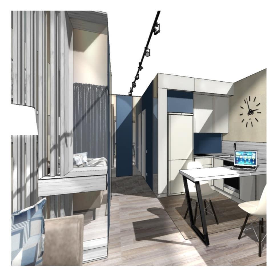 Концепт небольшой квартиры-студии прямоугольной планировки.