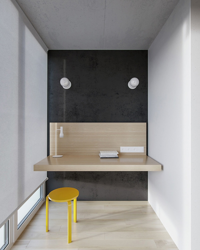 Дизайн-проект квартиры 27,4 м со скрытой кухней и присоединенной лоджией.