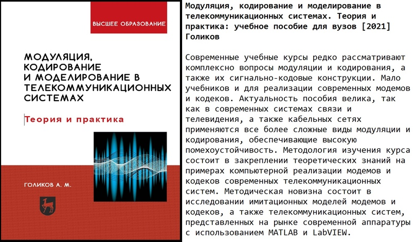 Модуляция, кодирование и моделирование в телекоммуникационных системах. Теория и...