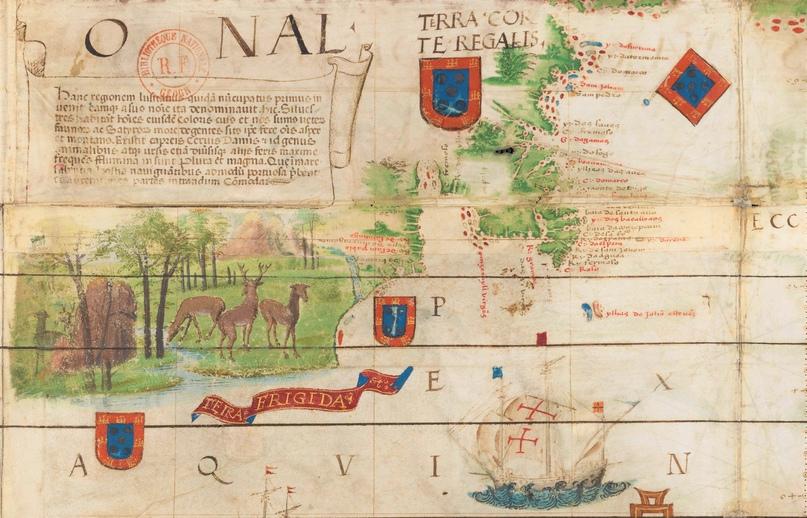 Северная Америка. Фрагмент из карты Атлантики в Атласе Миллера (1519)