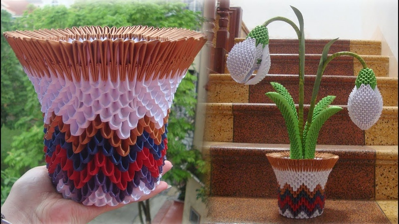 3D Origami Snowdrop Flower Pot Tutorial | DIY Paper Snowdrop Flower Pot Home Decor