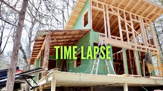 TIMELAPSE - Off Grid Shed Style Cabin Build with HYDRO POWER- START TO FINISH