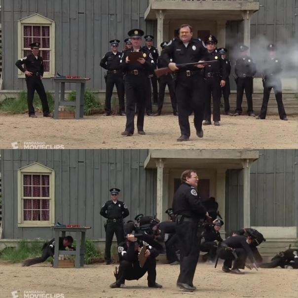 Полицейская академия Когда новичок Лесли Барбара из-за случайного выстрела начинает крутится и направляет оружие на других, только Таклберри сохранил спокойствие и не пригнулся. Дело в том, что