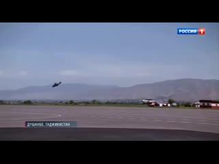 Сопровождение ударными вертолетами Ми-24 Борта №1 с Владимиром Путиным в Душанбе