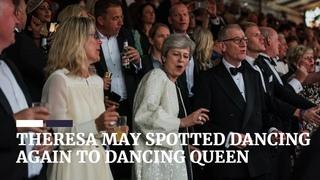 Theresa May dancing AGAIN to Dancing Queen