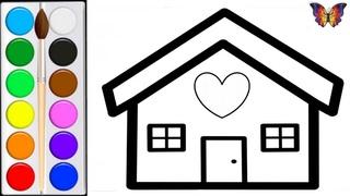 Как нарисовать ДОМИК / мультик раскраска ДОМ  для детей / Раскраски малышам