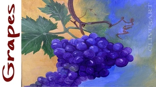 Learn to paint plump Realistic Grapes in acrylic