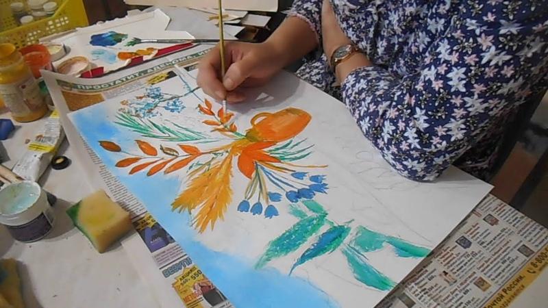 Натюрморт с цветами Гуашь акрил