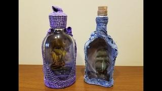 Обратный декупаж бутылок. Морской декор. DIY.  Marine decor of bottles.
