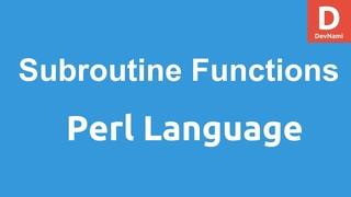 Perl Programming Subroutines and functions